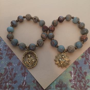 Sacred heart orSt. Jude medallion stretch bracelet with blue jasper stones