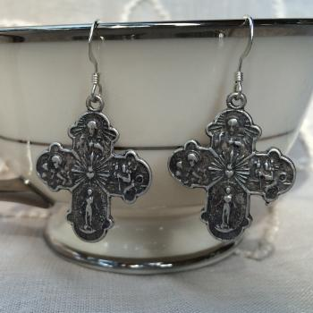 4 way cross earring